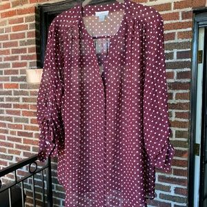 Anne Taylor Loft Burgundy Sheer Pop Over Blouse XL